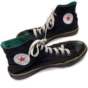 Converse Black Hi Top Sneakers Rasta Chuck Taylors